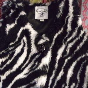 Girls boutique Mudpie fur zebra vest sz 2T 3T